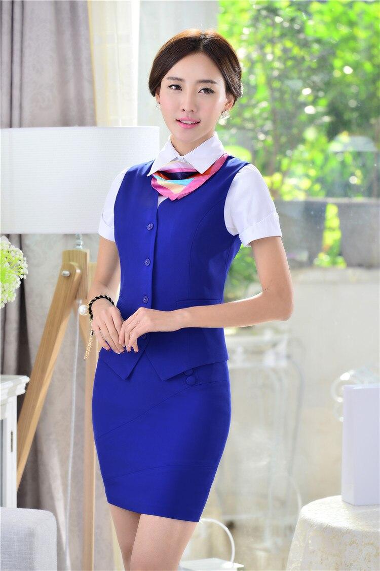 Весна Лето Новинка тонкие модные деловые женские костюмы жилет+ юбка форма дизайн Дамская Офисная Рабочая одежда юбки костюмы - Цвет: Blue