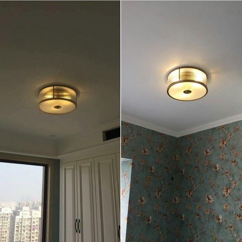 Stil Amerikanischen Kupfer führte Deckenleuchten Europäischen Wohnzimmer Lampe Schlafzimmer Lampe Korridor Licht Veranda Beleuchtung gold E27
