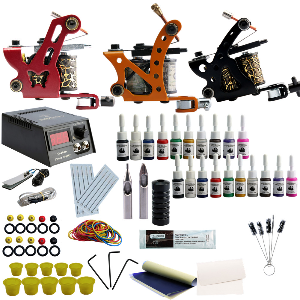 Professional Tattoo Kits 20 Ink Set Complete Set 3 Tattoo Machine Gun Lining And Shading Tattoo Inks Power Needles Tattoo Supply professional tattoo kits liner and shader machines immortal ink needles sets power supply