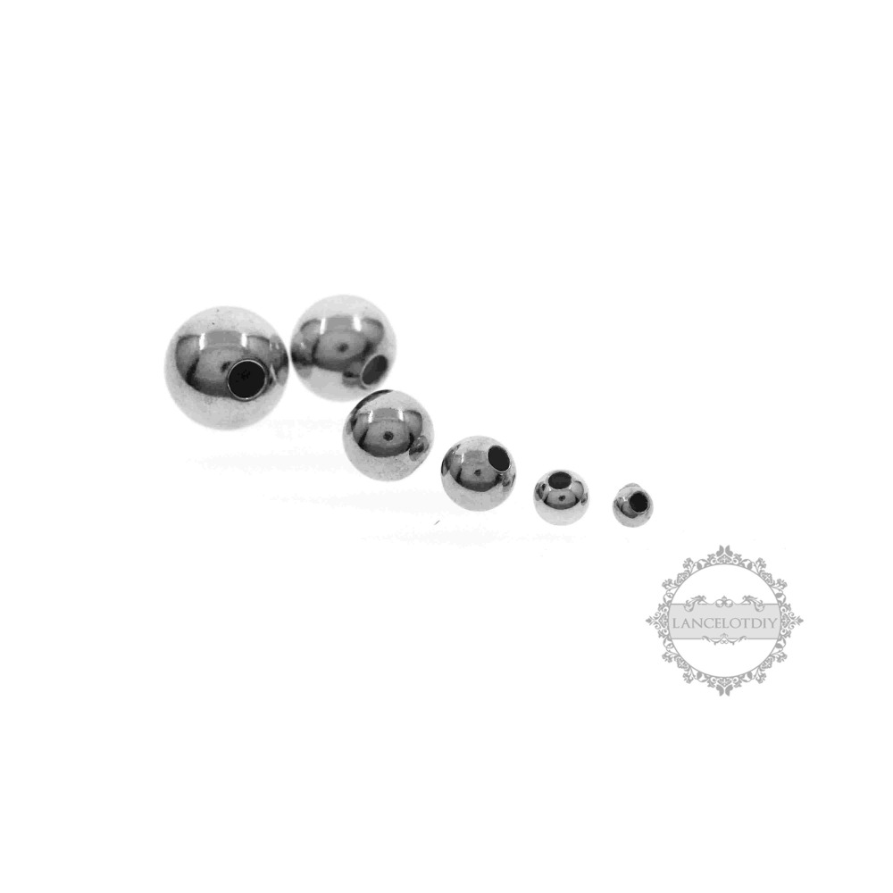 2-7mm 925 sterling silver round beads with 0.7-0.8mm hole DIY beadings supplies findings 3994004
