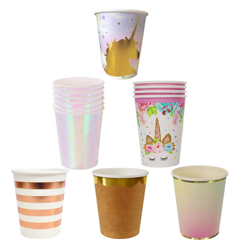 Paper Cups Party Decorations Iridescent Gold Tableware Unicorn Flamingo Mermaid Cup Adult Kds Birthday Party Wedding Supplies cup