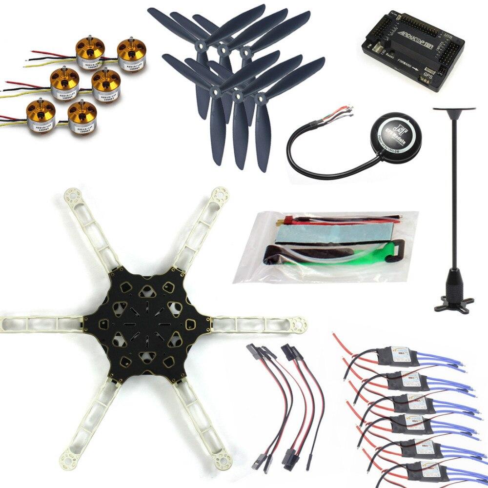 JMT DIY FPV Multirotor Drone GPS APM2.8 Alien Across Carbon Fiber RC Hexacopter Motor ESC jmt diy fpv multirotor drone full gps apm2 8 set alien across carbon fiber rc hexacopter flysky fs i6 6ch tx