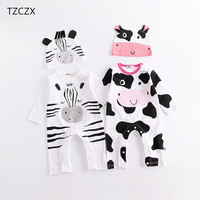 TZCZX 1525 New Children Baby Boys Girls Rompers Novelty Cartoon Printed Jumpsuit For 3 Month To