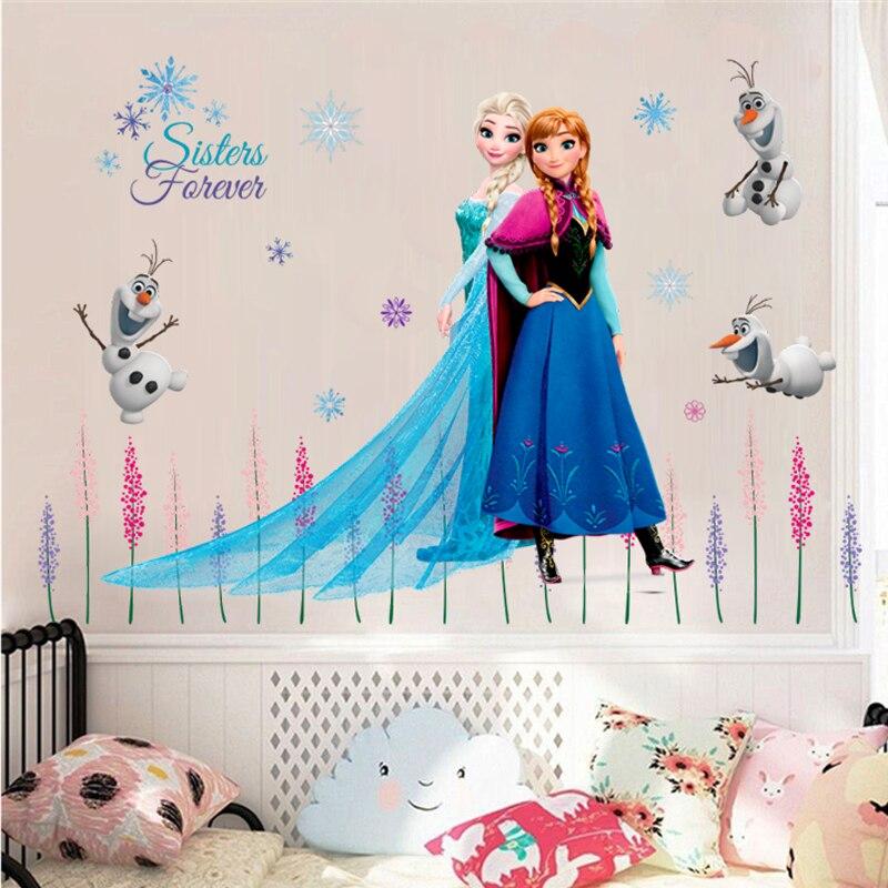Mignon Olaf Elsa reine Anna princesse Anime Stickers muraux enfants chambre plinthe décoration de la maison dessin animé Mural Art gelé affiche de film
