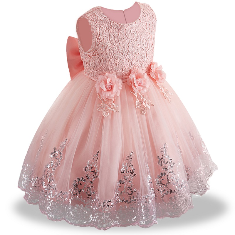 2019 summer infant Baby Girl Dress Lace white Baptism Dresses for Girls 1st year birthday party wedding baby clothing(China)