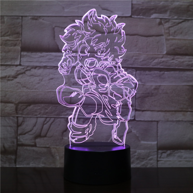 My Hero Academia Naruto Midoriya Izuku Lampara Action Figure 3D LED Night Light Table Lamp Anime Acrylic Color Changing Lighting