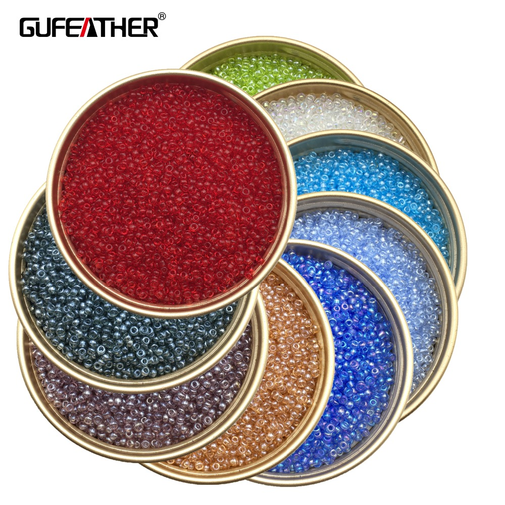 GUFEATHER Z88/2MM transparent beads/jewelry beads/colorful seed beads/jewelry accessories/jewelry findings/Etsy supplies 20g/pag
