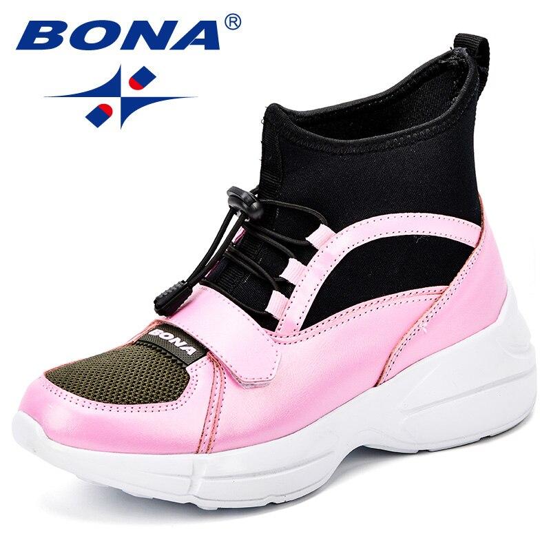 BONA Women Shoes Casual High Top Sneakers Women 2018 Platform Wedges Tenis Feminino Esportivo Casual Shoes