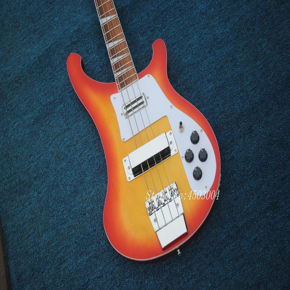 Wholesale & Retail Chinese CS Cherry Sunburst R4003 Electric Bass Guitar 4 String Rick Bass Guitar Boy & Kits Lefty Available