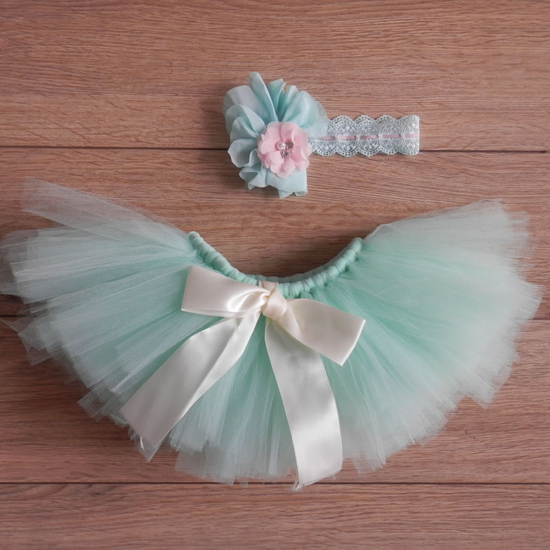 Newborn fotografia baby girls 0-3 months green tutu skirt photo shoot and headwear accessories Newborn props baby photos