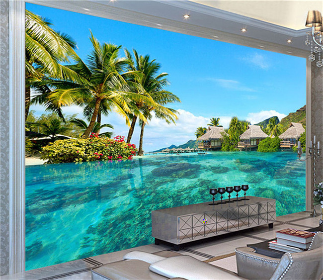 Custom 3D Photo Wallpaper HD Space Extension Maldives Beach Nature Landscape Photography Living Room TV Background Wall Painting