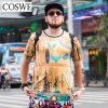 COSWE Plus Size Mens Tshirt Brand Casual 3D Print Male Shirt Fashion Short Sleeve Man Clothes