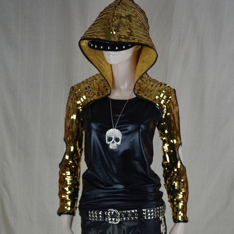 Chaude nouvelle Ds grande casquette conception à manches longues courte vêtements d'extérieur personnalité paillettes Costume hommes Sequin vestes chanteur scène vêtements