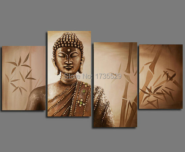 4Piece large Buddha Wall Art Religion Canvas HD Oil Painting Modern ...