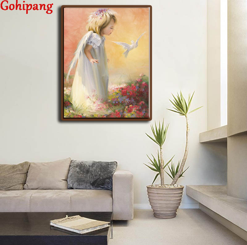 Gohipang DIY Digital Angel Girl Hand Painted Painting By Numbers White Bird Peace Scenery Poster Living Room Wall Art Decoration