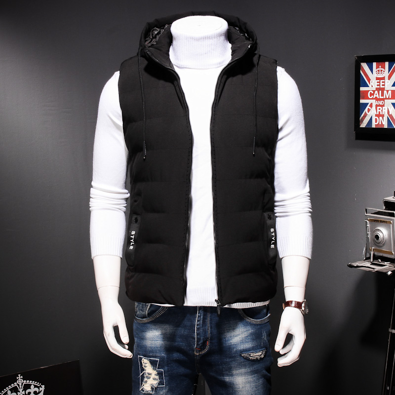 Plus Size 8XL 7XL Winter men's Warm sleeveless Vest men cotton hooded jacket male zipper Waistcoat for Autumn male gilet homme - 3