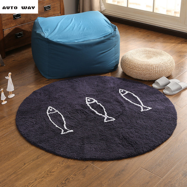 Kleine Fische Muster Runde Teppich Nacht Baumwolle Matten Wohnzimmer