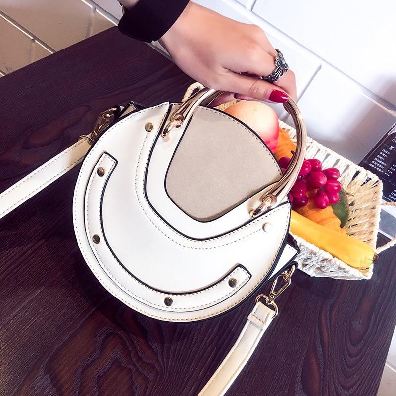 Female Bag Women's Handbags 2019 New Metal Handle Round Bag Shoulder Crossbody Portable Small Bag Bolsa Feminina - 3