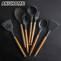 Silicone Kitchen Set Cooking Tools Utensils Set Spatula Shovel Soup Spoon with Wooden Handle Special Heat-resistant Design