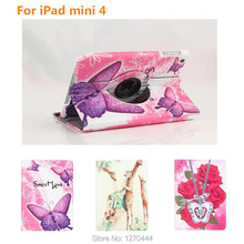 360 Degree Rotating Leather Case For Apple iPad mini4 Stand Case For IPAD mini 4 with Retina Smart Colorful Painting Stand Cover