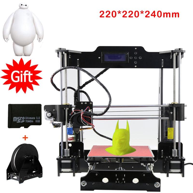 Auto Leveling 3D Printer Kits Reprap Prusa DIY 3D Printers 220*220*240mm 3d printing With 1 Rolls Filament 8GB SD card As Gift фен remington d6090 2200вт черный и фиолетовый