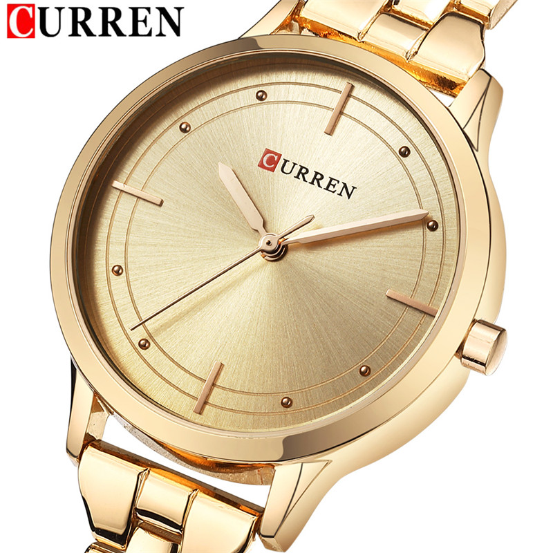 Women Watches Top Brand Luxury CURREN Gold Ladies Watch Stainless Steel Band Classic Dress Bracelet Female Clock Lover Gift 2018