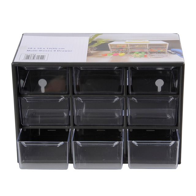 Plastic 9 Jewelry Storage Box Mini Debris Cabinets Lattice Portable Amall Drawer Sorting Grid Desktop Office