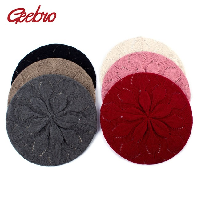 99aab28e0a56c Geebro Women s Plain Color Knit Beret Hat Spring Casual Soft Acrylic Berets  for Women Ladies French Artist Beanie Beret Hats
