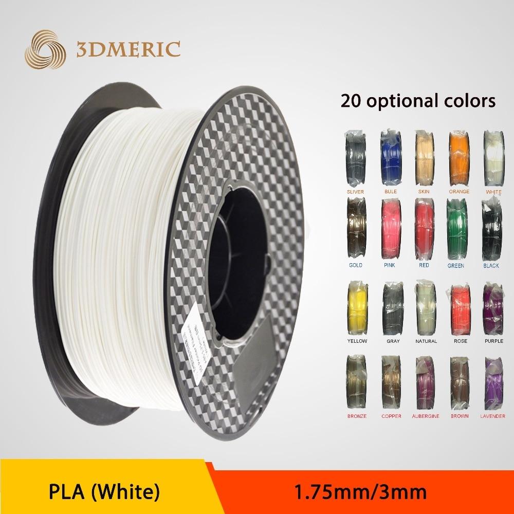 High Quality 3D Printer Filament 1kg-2.2lb 1.75mm PLA Plastic for MakerBot RepRap Mendel White
