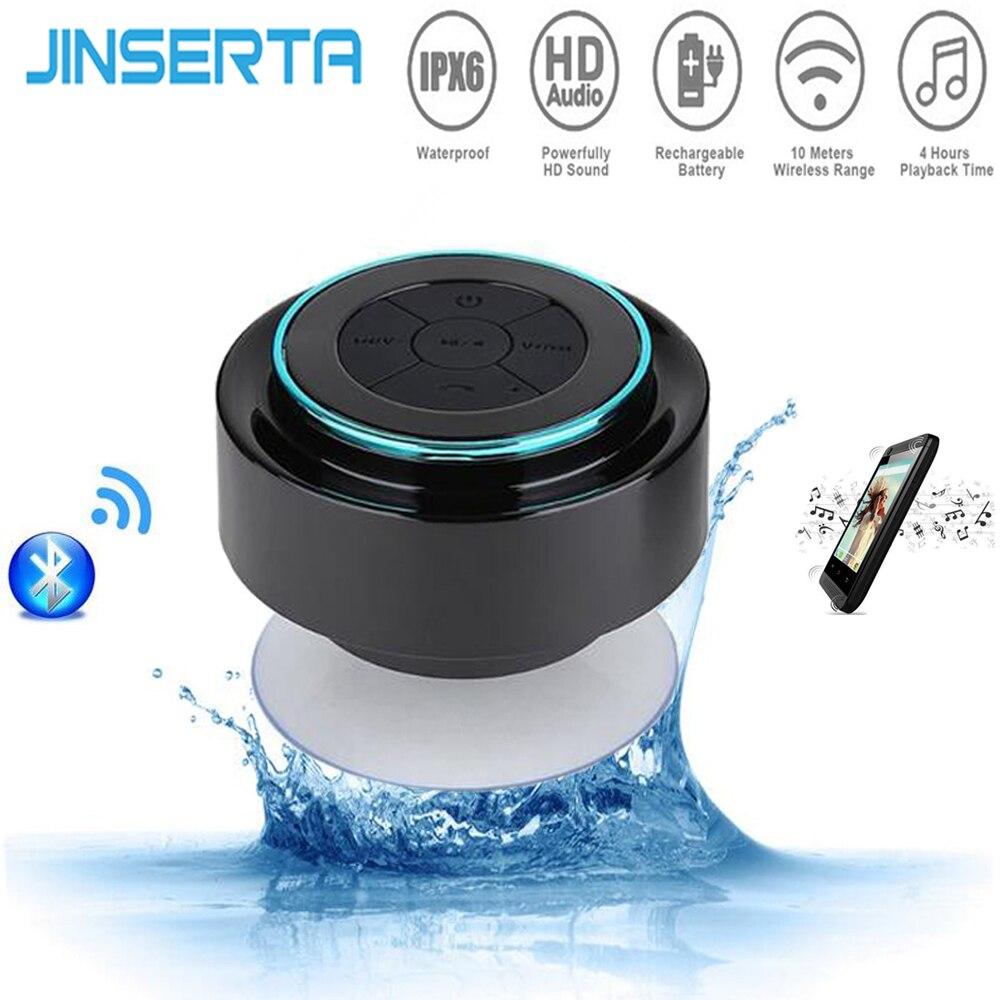 JINSERTA IPX6 Wasserdichte Bluetooth Wireless Dusche Lautsprecher Mini Freisprecheinrichtung Mit Mikrofon FM Video Player Tasche Outdoor Lautsprecher