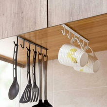 Under-Cabinet Hanger Rack with 6 Hooks Kitchen Cupboard Storage Shelf Hook TSH Shop