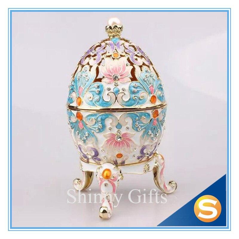 Luxury Crystal Faberge Easter Egg Russian Bee Flower Big Trinket Jewellery Box