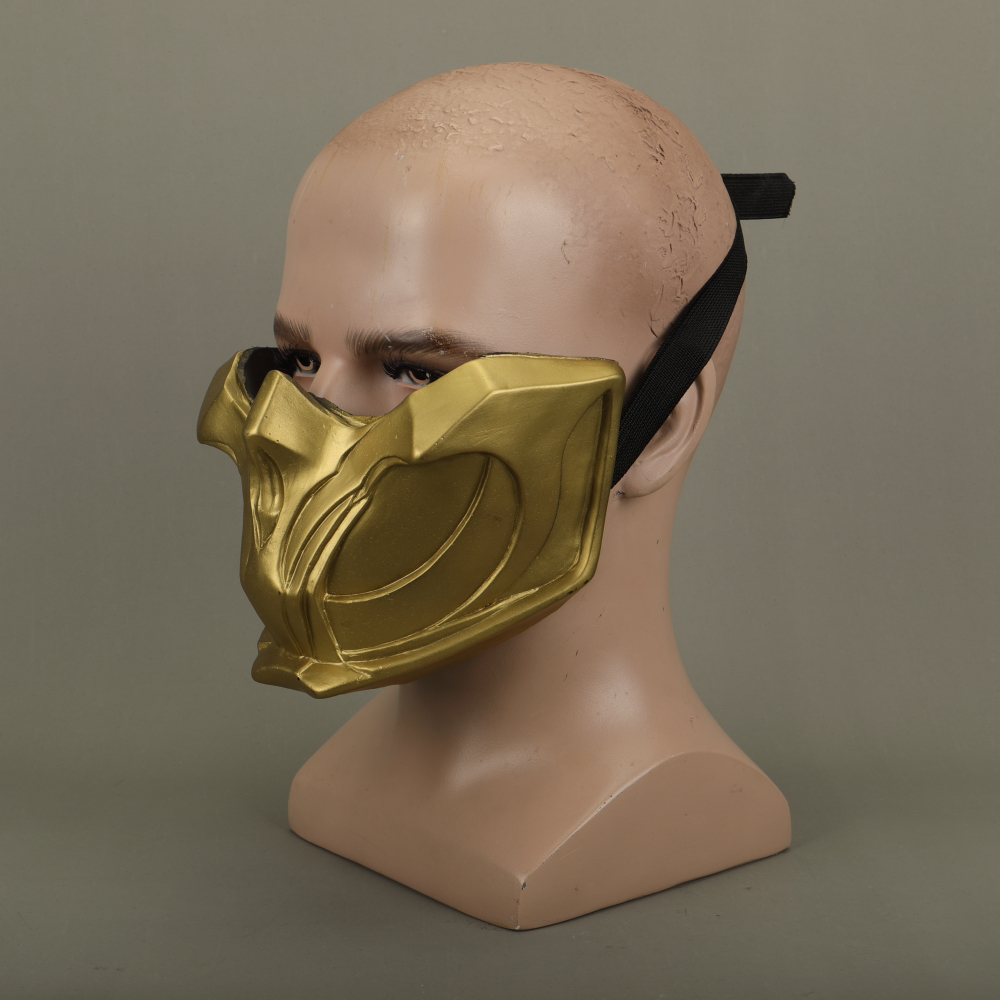 2019 New Mortal Kombat X Scorpion Hanzo Hasashi Sandal Wood Mask Half Face PVC Masks Adult Men Cosplay Costumes Halloween Mask (11)