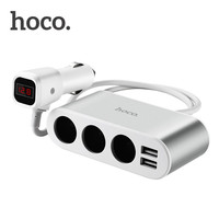 HOCO 3 In 1 100W Car Dual USB Charger Z13 Fast Charging LED Digital Display Battery