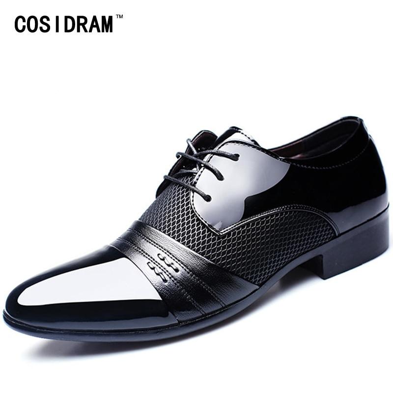 Cosidram с вырезами дышащая Мужская деловая обувь Острый носок Лакированная кожа туфли-оксфорды для мужчин Туфли под платье Бизнес rme-303