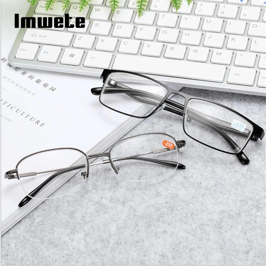Imwete мужские и женские прозрачные высокие диоптрические очки для близорукости с металлической оправой очки для близорукости короткие очки для зрения-1,0-1,5-2,0-2,5