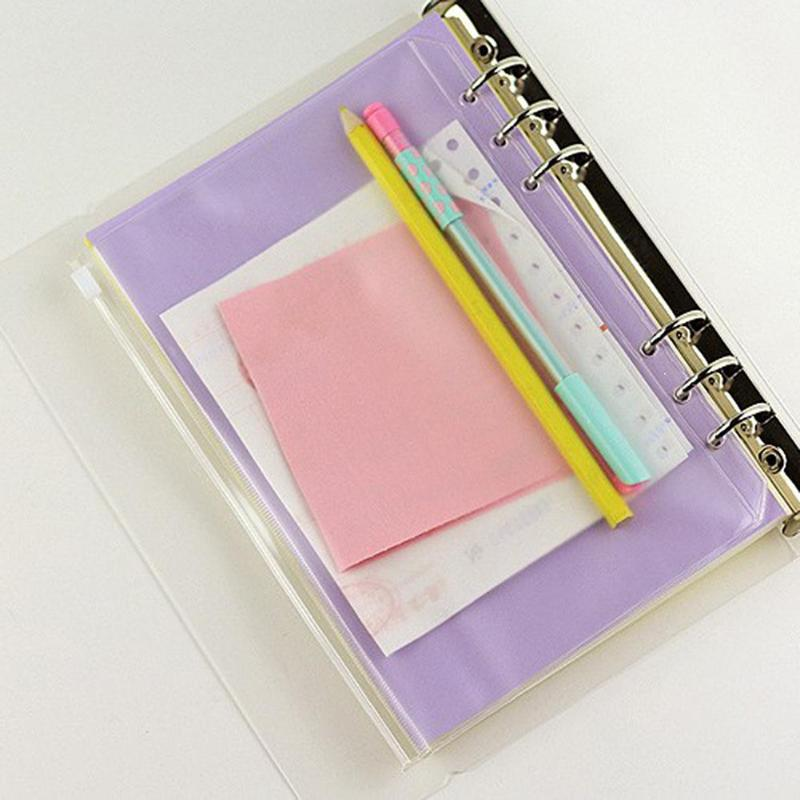 PVC A5 A6 A7 Zipper Bag Card Bills Clips Bags Loose Leaf Storage Holder Pockets Filing Bag Stationery School Supply Dropshipping