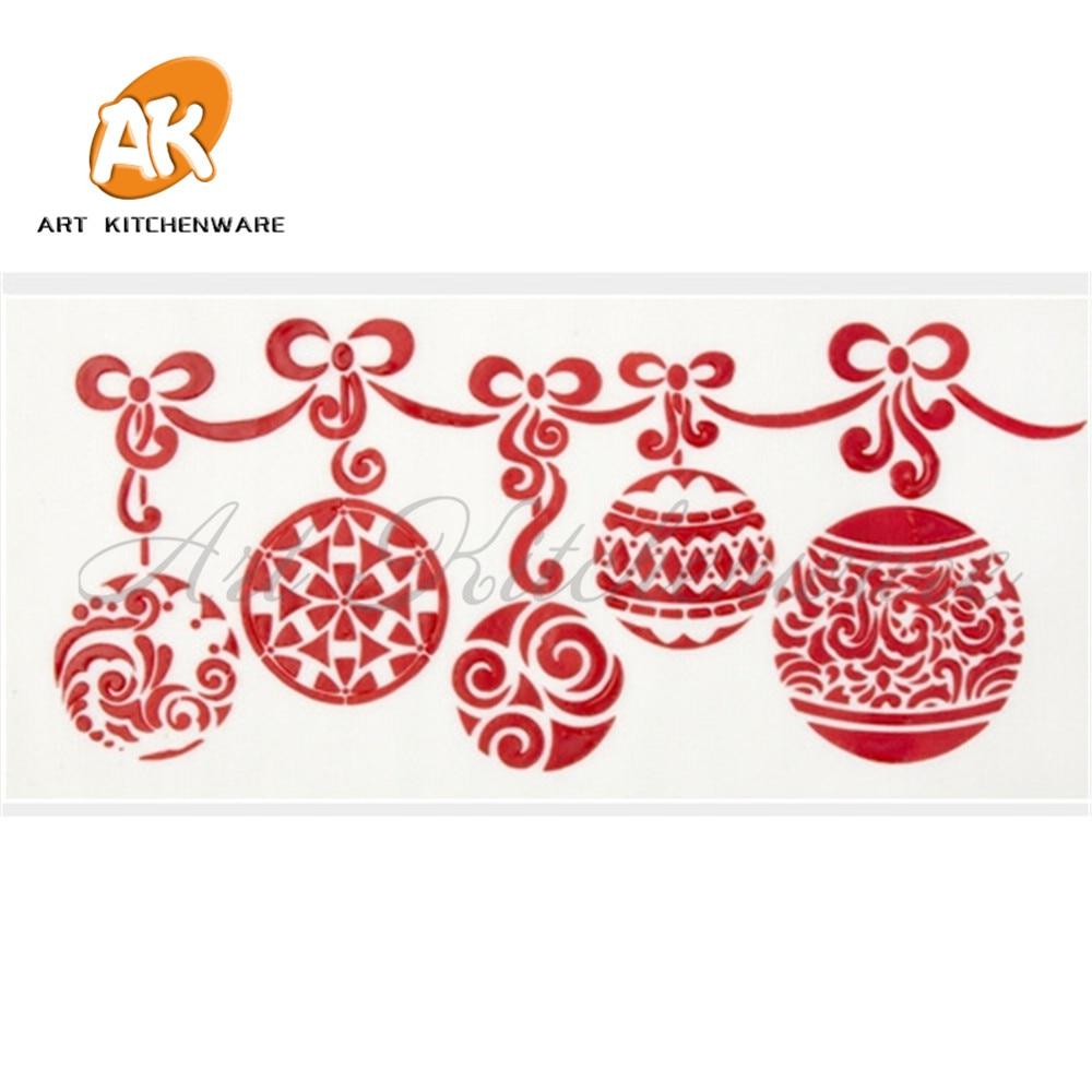 ღ ღBola de Navidad Swag stencil fondant cake molde pastelería ...