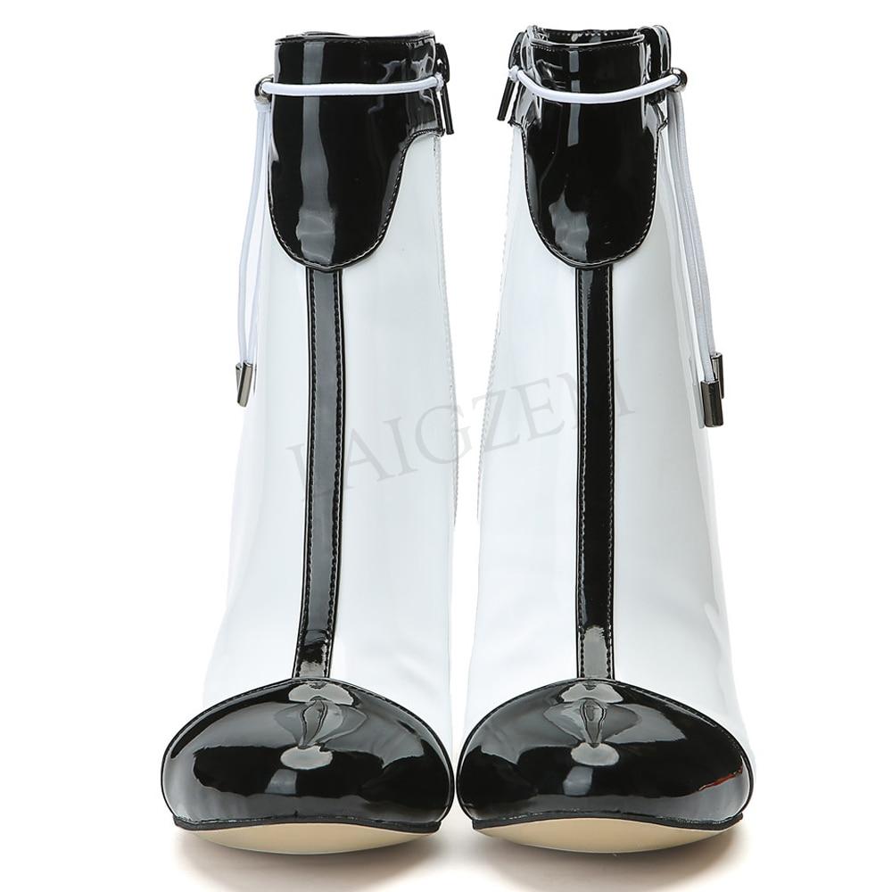 Sexy Black & White High Heel Fashion Boots Shoes Woman LAIGZEM