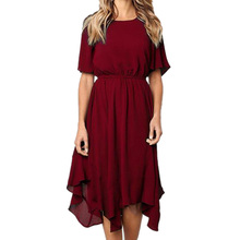 Korean Summer Dress 2019 O-Neck Red Dresses For Woman High Quality Plus Size Clothing