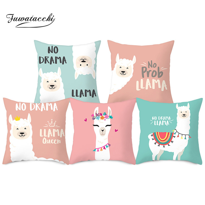 Fuwatacchi Cartoon Cushion Cover Animal Alpaca Printed Pillows Cover Polyester Pillowcase For Home Sofa Decorative Pillows 45*45