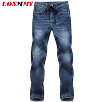 LONMMY 5XL 6XL Skinny Jeans Men Stretch Drawstring Elastic Waist Denim Overalls Men Trousers Casual Pants