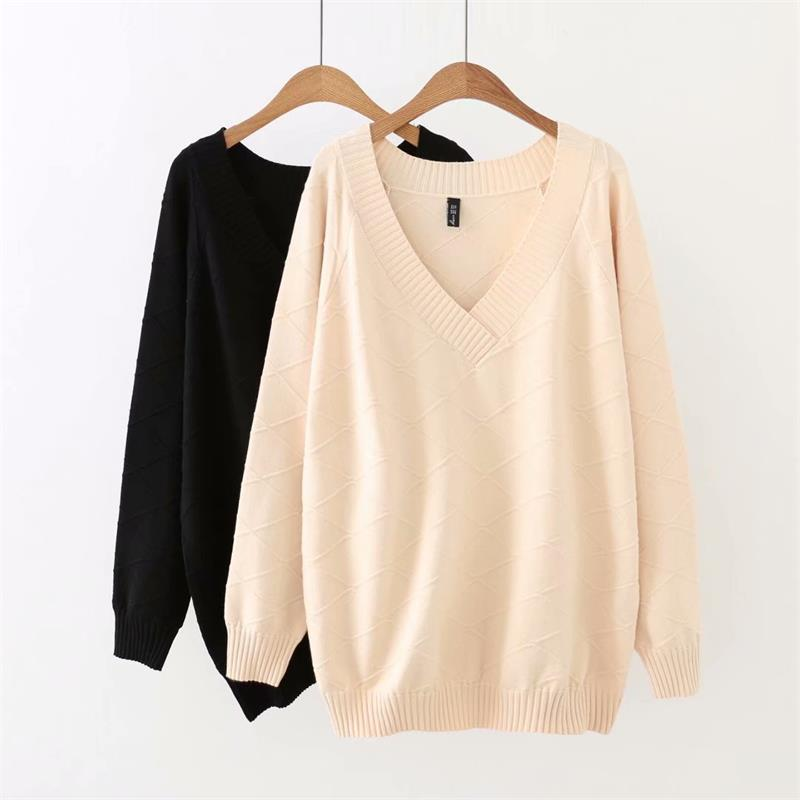 Plus Size Autumn V-Neck Drop-shoulder Sleeve Women Pullovers Sweater 2018 Geometric Black & Beige Knitted Ladies Sweater Female