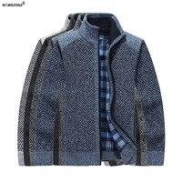 2017 Winter Fashion mens lông cừu dày lót đứng cổ áo dây kéo áo len nam giản dị của cardigan áo len dài tay áo mens áo len
