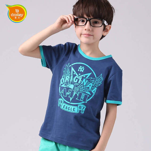 DOOLLEY Boy Moda de Manga Corta T-shirt Ropa de Los Niños 2016 Nueva Llegada Imprimir Niños Casual Algodón Camisetas Tops Tamaño 110-150 cm
