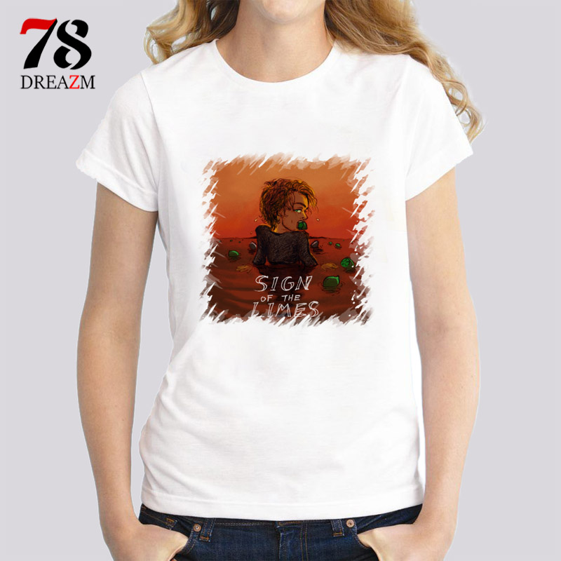 Harry Styles sign of the times t-shirt female New women Spring Summer short sleeve O-Neck Pattern Fashion gril Casual