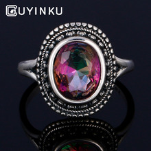 GUYINKU Oval Created Mystic Topaz Rings Rainbow Colorful Gemstone 925 Sterling Jewelry For Women Engagement Rings Gift guyinku oval created mystic topaz rings rainbow colorful gemstone 925 sterling jewelry for women engagement rings gift