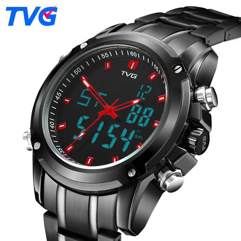 TVG Luxury Top Brand Men Watches Military Quartz Sports Watch Men Waterproof LED Digital Full Steel WristWatch Relogio Masculino