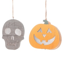 2019 New Halloween Wooden Pumpkin Lantern Hanging Decoration Household Skeleton Head Decor