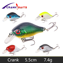 Купить с кэшбэком CRANK BAITS  55mm7.4g Minnow Fishing Lure Floating Artificial Japan Hard Bait Bass Fishing Wobblers Topwater Crankbait Fish YB76